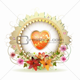 Circular floral frame with heart