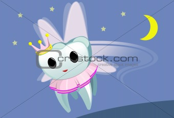 Tooth fairy wearing a tutu and flying