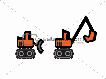 Two Vector Construction Tractors