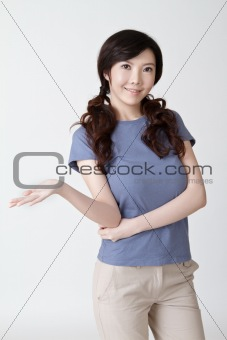 Asian woman presenting