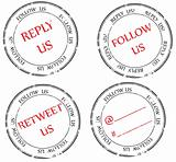 set of stamps to Twitter: follow, reply, retweet