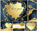 Collection of Valentine's greeting cards gold and blue