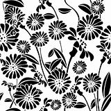 Seamless floral background, graphic pattern
