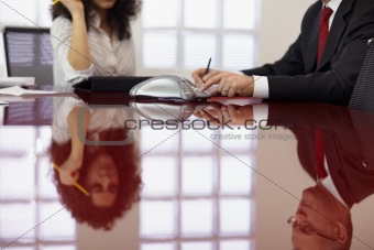 Two colleagues doing conference call