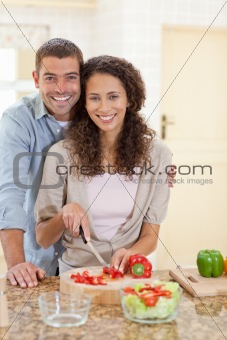 Couple cooking in the kitchen