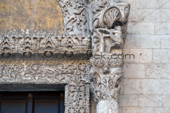 Lion Portal. St. Nicholas Basilica. Bari. Apulia.