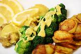Fish, chips and broccoli