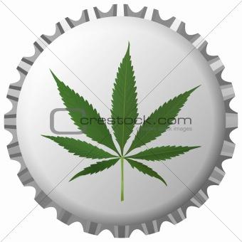 cannabis leaf on bottle cap against white