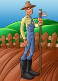 farmer in a planted soil
