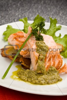 Grilled Salmon with Basil sauce