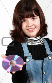 Beautiful girl holding a CD