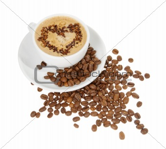 Coffee in a white mug with a heart
