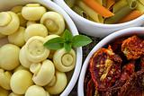 Pasta and ingredients for italian food