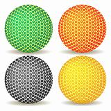colored balls against white