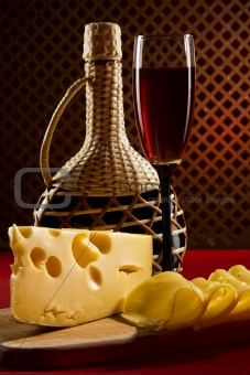 Red wine glass and cheese