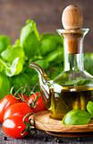 Olive oil, basil and vegetables