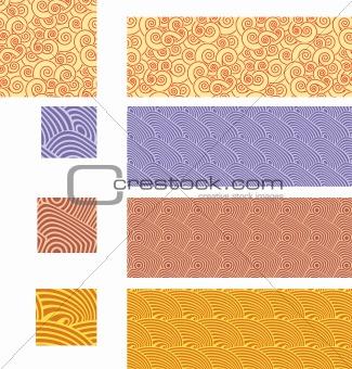Asian traditional, seamless patterns - set 02