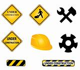Construction signs and tools