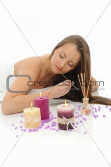 Aromatherapy.Beautiful woman with pure healthy skin