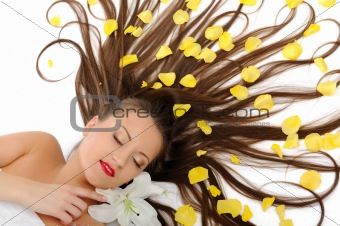 Beautiful spa woman with long healthy hair and bright make-up