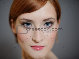 Portrait of pretty woman with pure healthy skin