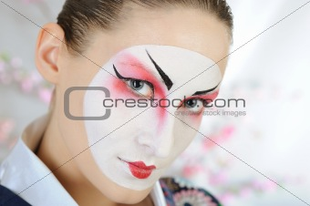 close-up artistic portrait of japan geisha woman
