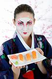 beautiful japan geisha woman with sushi roll set