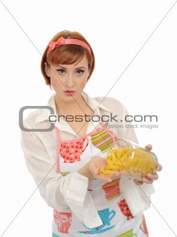 Beautiful cooking woman in apron with italian pasta macaroni