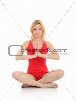 Beautiful fitness woman doing yoga meditation pose.isolated