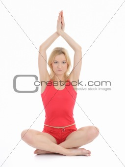 Beautiful fitness woman doing yoga meditation pose.isolated