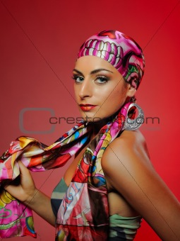 Beautiful fashion woman with bright make-up and hair veil.