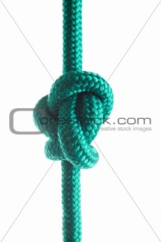 Rope with marine knot on white background. series of photos