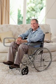 Senior man in his wheelchair