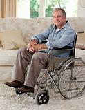 Senior man in his wheelchair