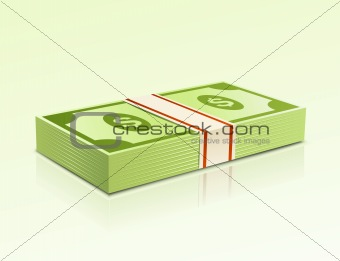 Packs of dollars money on green background