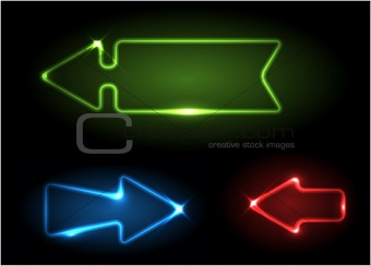 Green, blue and red neon arrows