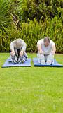 Senior couple doing their streches