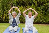 Retired couple doing their streches