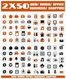 100 orange vector environmental icons and design-elements