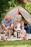 Seniors camping in the garden