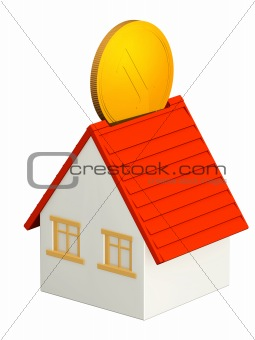 House and gold coin