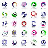 Spiral movement and rotation. Design elements set.