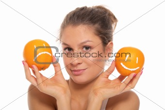 Woman with two oranges  different emotions