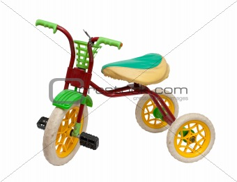 old children's tricycle on white background