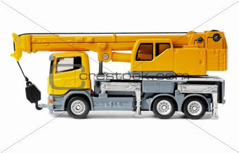 toy truck crane isolated over white background