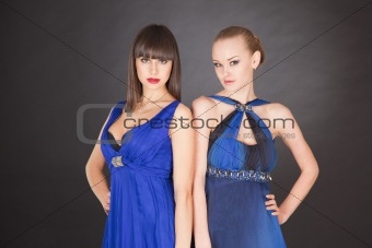 Two young girls in elegant dresses