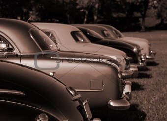 Antique Cars in Sepia Color