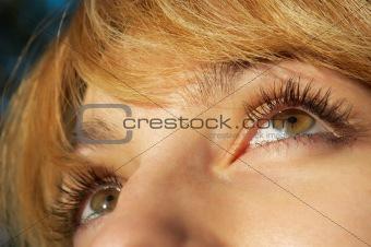 blond girl's eye closeup