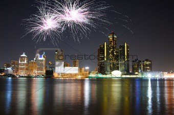 Fireworks over city skyline
