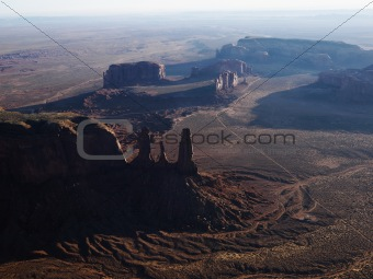 Aerial of Monument Valley.